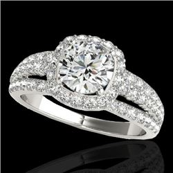 2.25 CTW H-SI/I Certified Diamond Solitaire Halo Ring 10K White Gold - REF-316K4W - 34007