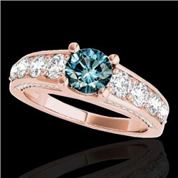 3.05 CTW SI Certified Fancy Blue Diamond Solitaire Ring 10K Rose Gold - REF-343A6V - 35522