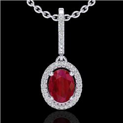 2 CTW Ruby & Micro Pave VS/SI Diamond Necklace Solitaire Halo 18K White Gold - REF-64A2V - 20667