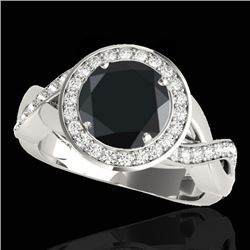 2 CTW Certified VS Black Diamond Solitaire Halo Ring 10K White Gold - REF-94R7K - 33279