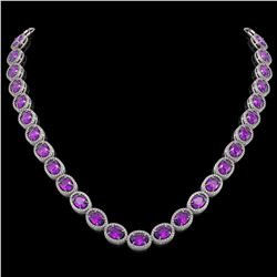 45.16 CTW Amethyst & Diamond Necklace White Gold 10K White Gold - REF-560X2R - 40985