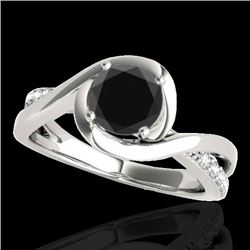 1.15 CTW Certified VS Black Diamond Solitaire Ring 10K White Gold - REF-57V3Y - 34838