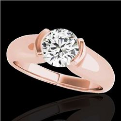 1 CTW H-SI/I Certified Diamond Solitaire Ring 10K Rose Gold - REF-207V3Y - 35174