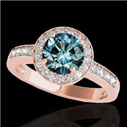 2 CTW SI Certified Blue Diamond Solitaire Halo Ring 10K Rose Gold - REF-300W2H - 34357