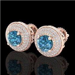 2.35 CTW Fancy Intense Blue Diamond Art Deco Stud Earrings 18K Rose Gold - REF-236M4F - 38133