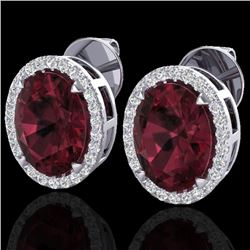 5.50 CTW Garnet & Micro VS/SI Diamond Halo Earrings 18K White Gold - REF-62V2Y - 20251