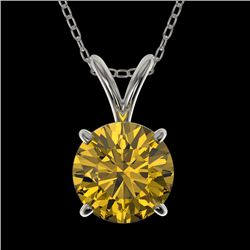 1.25 CTW Certified Intense Yellow SI Diamond Solitaire Necklace 10K White Gold - REF-240N2A - 33209