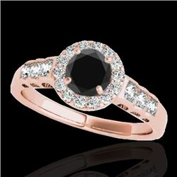 1.55 CTW Certified VS Black Diamond Solitaire Halo Ring 10K Rose Gold - REF-74N5A - 34364