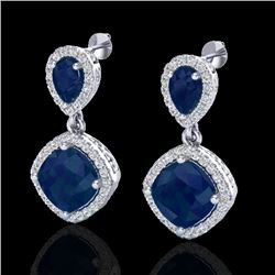 7 CTW Sapphire & Micro Pave VS/SI Diamond Earrings Designer Halo 10K White Gold - REF-107W3H - 20209