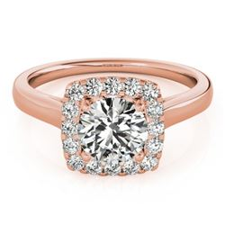 1.37 CTW Certified VS/SI Diamond Solitaire Halo Ring 18K Rose Gold - REF-393H5M - 26282