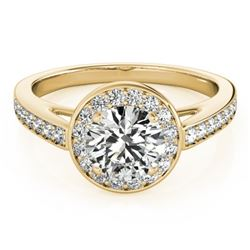 0.90 CTW Certified VS/SI Diamond Solitaire Halo Ring 18K Yellow Gold - REF-122N2A - 26562