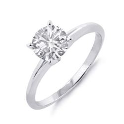 0.60 CTW Certified VS/SI Diamond Solitaire Ring 18K White Gold - REF-218R2K - 12044