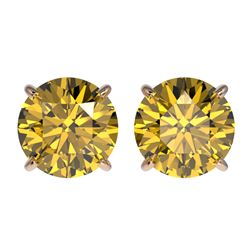 2.57 CTW Certified Intense Yellow SI Diamond Solitaire Stud Earrings 10K Rose Gold - REF-427X5R - 36