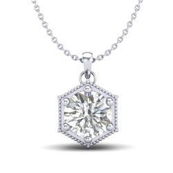 0.82 CTW VS/SI Diamond Solitaire Art Deco Stud Necklace 18K White Gold - REF-218M2F - 37220