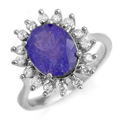3.05 CTW Tanzanite & Diamond Ring 18K White Gold - REF-121R6K - 13802