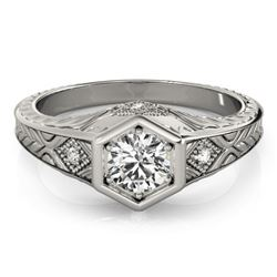 0.40 CTW Certified VS/SI Diamond Solitaire Antique Ring 18K White Gold - REF-70R9K - 27222