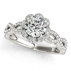 1.69 CTW Certified VS/SI Diamond Solitaire Halo Ring 18K White Gold - REF-411M3F - 26820