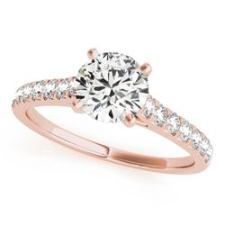 1 CTW Certified VS/SI Diamond Solitaire Wedding Ring 18K Rose Gold - REF-149V3Y - 27586