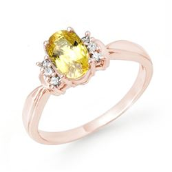 1.40 CTW Yellow Sapphire & Diamond Ring 14K Rose Gold - REF-36V4Y - 14071