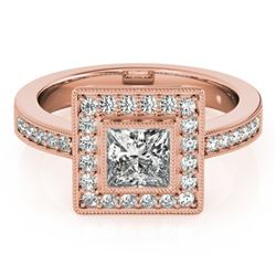 1.11 CTW Certified VS/SI Princess Diamond Solitaire Halo Ring 18K Rose Gold - REF-209F3N - 27190