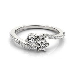 1 CTW Certified VS/SI Diamond 2 Stone Solitaire Ring 18K White Gold - REF-135X8R - 28242