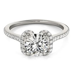 1.33 CTW Certified VS/SI Diamond Solitaire Halo Ring 18K White Gold - REF-371M5F - 26182