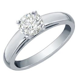 0.60 CTW Certified VS/SI Diamond Solitaire Ring 18K White Gold - REF-192W4H - 12060