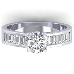 1.75 CTW Certified VS/SI Diamond Solitaire Art Deco Ring 14K White Gold - REF-422N4A - 30348