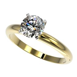1.25 CTW Certified H-SI/I Quality Diamond Solitaire Engagement Ring 10K Yellow Gold - REF-290W9H - 3