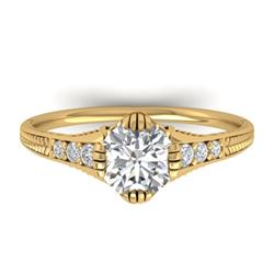 1.25 CTW Certified VS/SI Diamond Solitaire Art Deco Ring 14K Yellow Gold - REF-347F3N - 30524