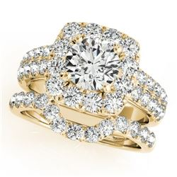2.76 CTW Certified VS/SI Diamond 2Pc Wedding Set Solitaire Halo 14K Yellow Gold - REF-469K8W - 30893