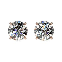1 CTW Certified H-SI/I Quality Diamond Solitaire Stud Earrings 10K Rose Gold - REF-94A5V - 33050