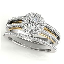 0.92 CTW Certified VS/SI Diamond 2Pc Set Solitaire Halo 14K White & Yellow Gold - REF-121W8H - 31030