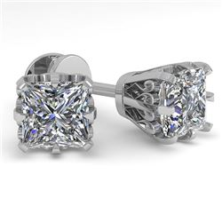 1.0 CTW VS/SI Princess Diamond Stud Solitaire Earrings 18K White Gold - REF-178N2A - 35673