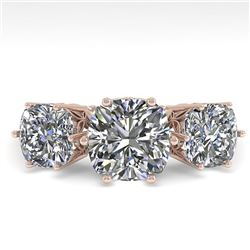 2.0 CTW Past Present Future Certified VS/SI Cushion Diamond Ring 18K Rose Gold - REF-414X2R - 35918