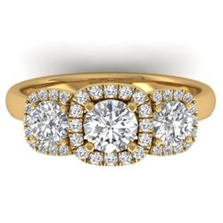 1.55 CTW Certified VS/SI Diamond Solitaire 3 Stone Ring 14K Yellow Gold - REF-182K5W - 30428
