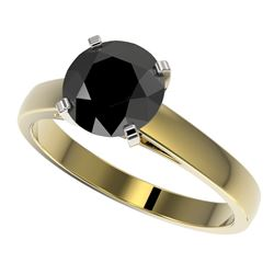 2 CTW Fancy Black VS Diamond Solitaire Engagement Ring 10K Yellow Gold - REF-44K5W - 33034