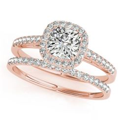0.93 CTW Certified VS/SI Cushion Diamond 2Pc Set Solitaire Halo 14K Rose Gold - REF-142F2N - 31389