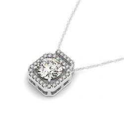 0.70 CTW Certified SI Diamond Solitaire Halo Necklace 14K White Gold - REF-96F5N - 30210