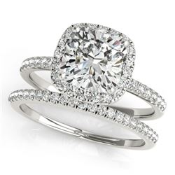 0.93 CTW Certified VS/SI Cushion Diamond 2Pc Set Solitaire Halo 14K White Gold - REF-142M7F - 31397
