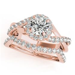 1.10 CTW Certified VS/SI Diamond 2Pc Wedding Set Solitaire Halo 14K Rose Gold - REF-142K2W - 31062
