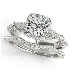 1.54 CTW Certified VS/SI Diamond 2Pc Wedding Set Solitaire Halo 14K White Gold - REF-393F6N - 30957