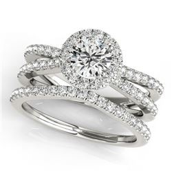 1.63 CTW Certified VS/SI Diamond 2Pc Wedding Set Solitaire Halo 14K White Gold - REF-234V5Y - 31017