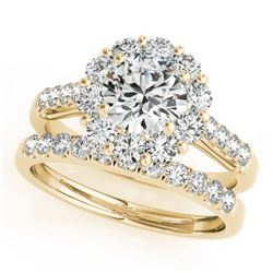 3.14 CTW Certified VS/SI Diamond 2Pc Wedding Set Solitaire Halo 14K Yellow Gold - REF-645A2V - 30746