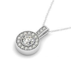 1 CTW Certified SI Diamond Solitaire Halo Necklace 14K White Gold - REF-116R9K - 30087