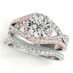 1.40 CTW Certified VS/SI Diamond 2Pc Set Solitaire Halo 14K White & Rose Gold - REF-239R5K - 31005