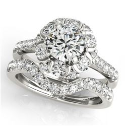 2.47 CTW Certified VS/SI Diamond 2Pc Wedding Set Solitaire Halo 14K White Gold - REF-442N7A - 31070