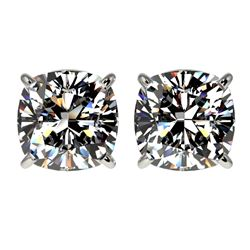 2.50 CTW Certified VS/SI Quality Cushion Cut Diamond Stud Earrings 10K White Gold - REF-840W2H - 331