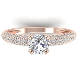 1.40 CTW Certified VS/SI Diamond Solitaire Art Deco Micro Ring 14K Rose Gold - REF-206K2W - 30412
