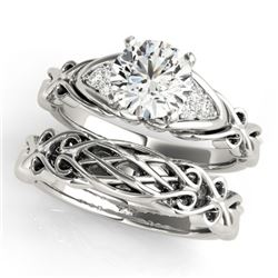 0.85 CTW Certified VS/SI Diamond Solitaire 2Pc Set 14K White Gold - REF-208M2F - 31874